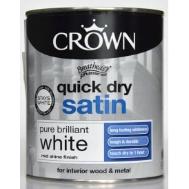 Crown 750ml Quick Dry Satin Paint Pure Brilliant White
