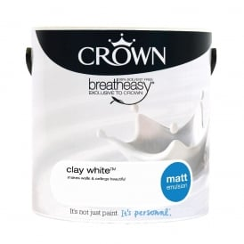 Crown Clay White 2.5L Matt Emulsion Breay Easy Paint