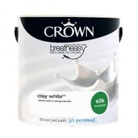 Crown Clay White 2.5L Silk Breath Easy Emulsion Paint