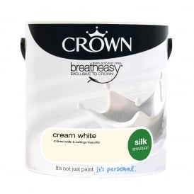 Crown Cream White 2.5L Silk Breath Easy Emulsion Paint