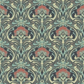 Crown Flora Nouveau Peacock Green Wallpaper M1196