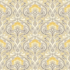 Crown Flora Nouveau Yellow And Grey Wallpaper M1195