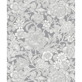 Crown Grey And White Wild Hedgerow Wallpaper M1188