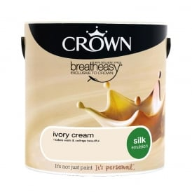 Crown Ivory Cream 2.5L Silk Breath Easy Emulsion Paint