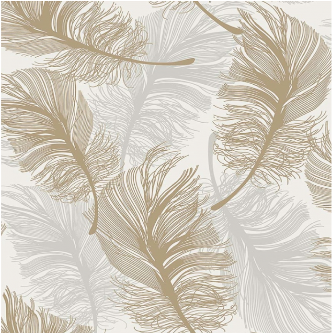 Crown Wallpaper Crown Plume Metallic Foil Gold leaf Wallpaper m1392