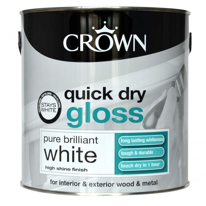 Crown Quick Dry Gloss Paint Brilliant White 2.5L ...