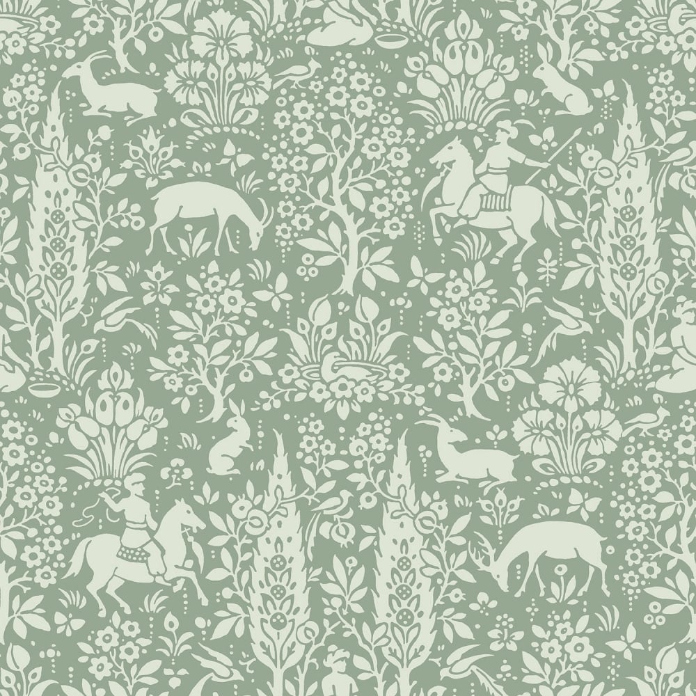 Crown Sage Green White Woodland Wallpaper M1167