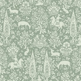 Crown Sage Green White Woodland Wallpaper M1167