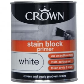 Crown Stain Block Primer Pure Brilliant White Paint 750ml