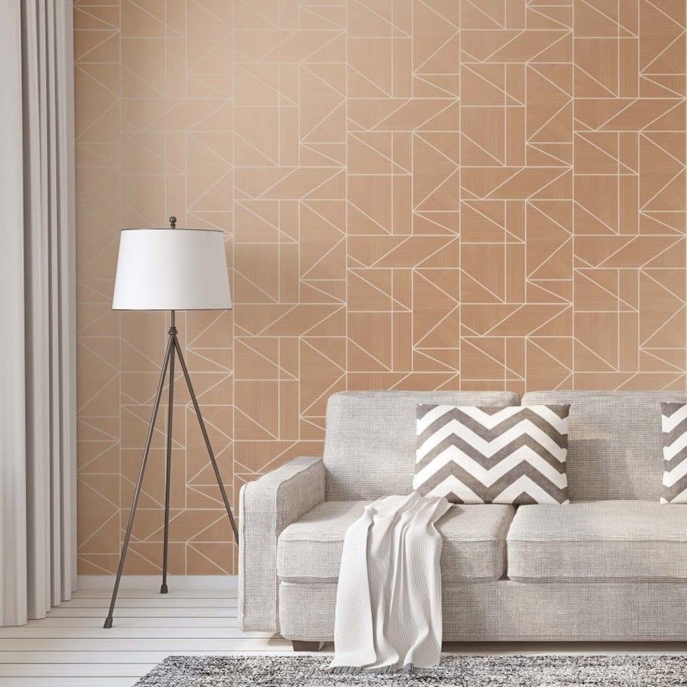 Crown Wallpaper Alexis Rose Gold Geometric Wallpaper M1382