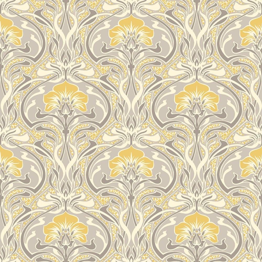 Crown Flora Nouveau Yellow And Grey Wallpaper M1195