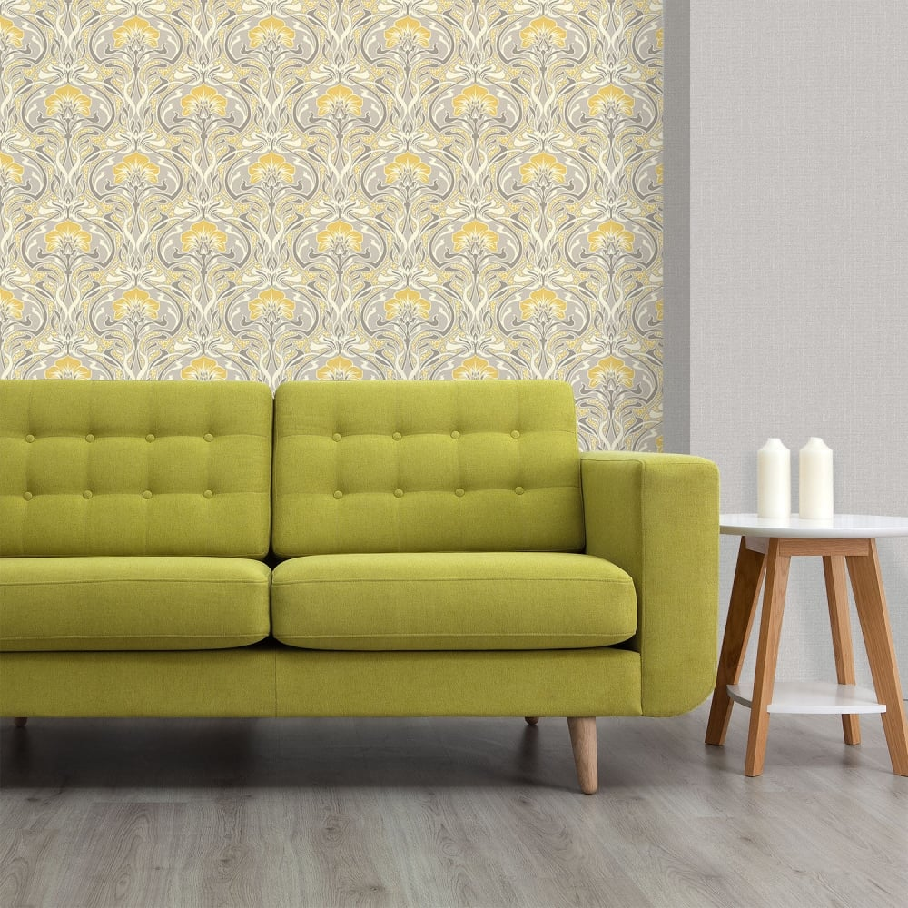 Marvelous Crown Flora Nouveau Yellow And Grey Wallpaper M1195 Beutiful Home Inspiration Xortanetmahrainfo