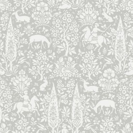 Crown Grey And White Woodland Horse Wallpaper M1168