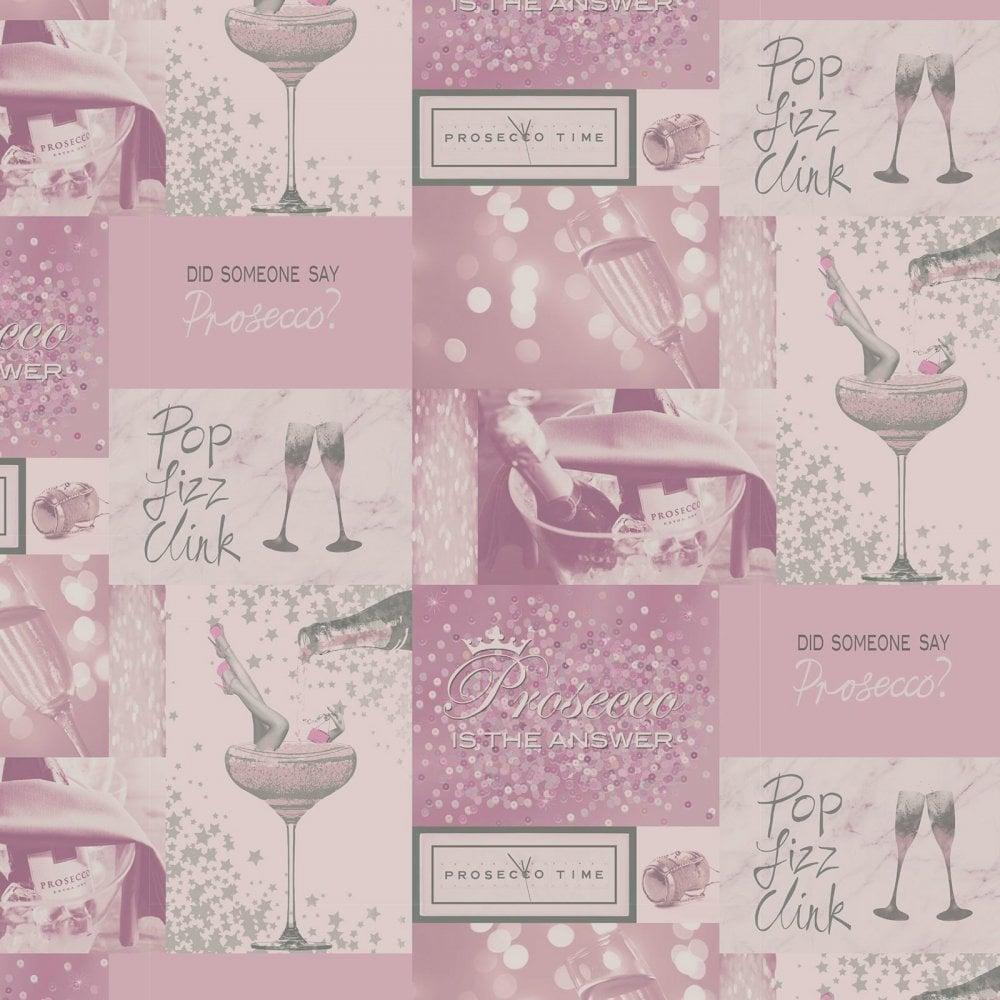 Fizz Prosecco Time Pink Amp Silver Wallpaper M1460