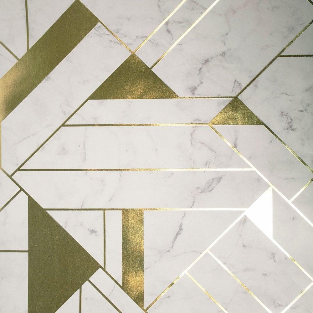 Crown Wallpaper Mayfair Luxe Islington Gold White Geometric Wallpaper M1468