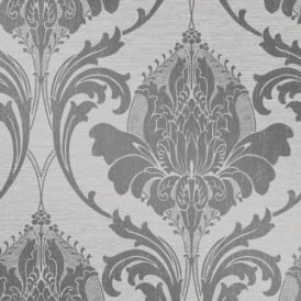 Crown Zahra Charcoal Damask Wallpaper M1159