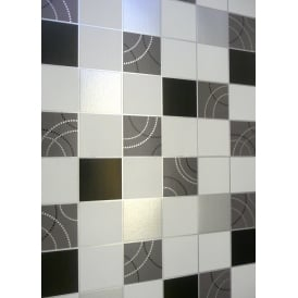 Debona Black And Silver Tiles Kitchen And Bathroom Wallpaper 2670
