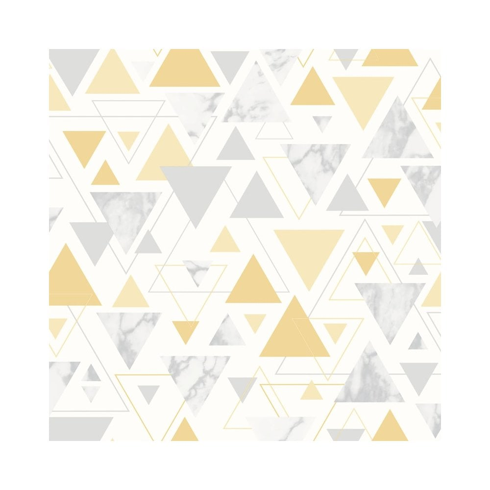 Chantilly Yellow Silver Geometric Triangle Marble Wallpaper 5014