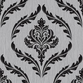 Crystal Glitter Damask Silver And Black Wallpaper 9032