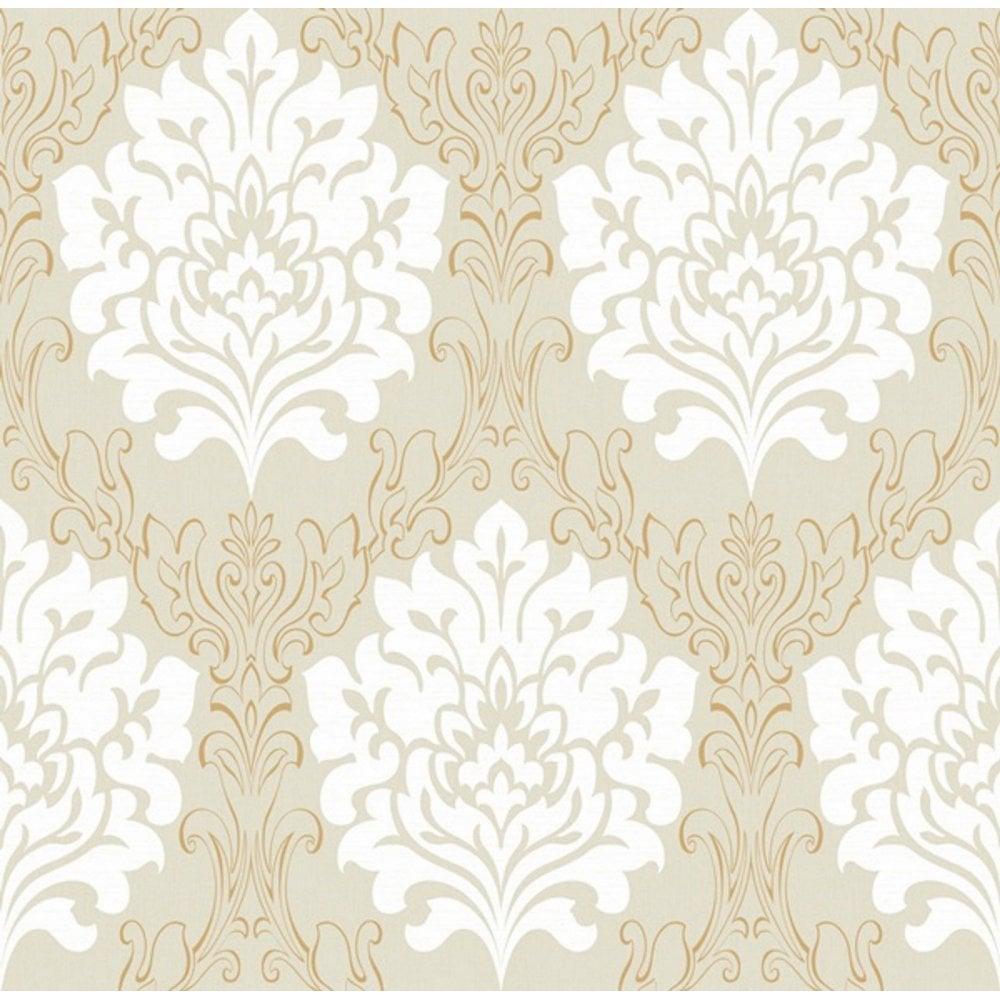 Debona Marrakesh Beige Cream And Gold Damask Wallpaper 2319