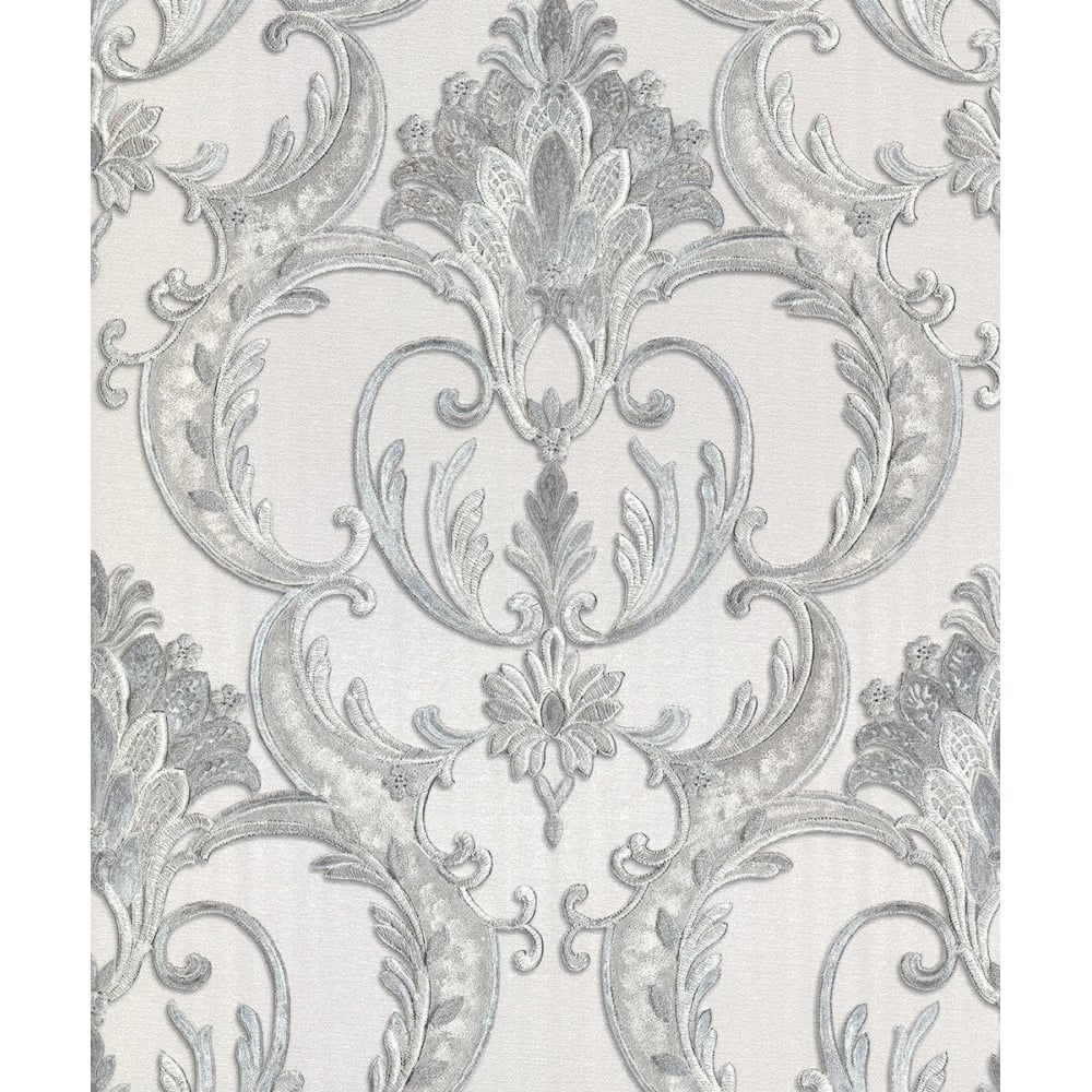 Perla Italian Glitter Grey And Silver Damask Wallpaper 9091