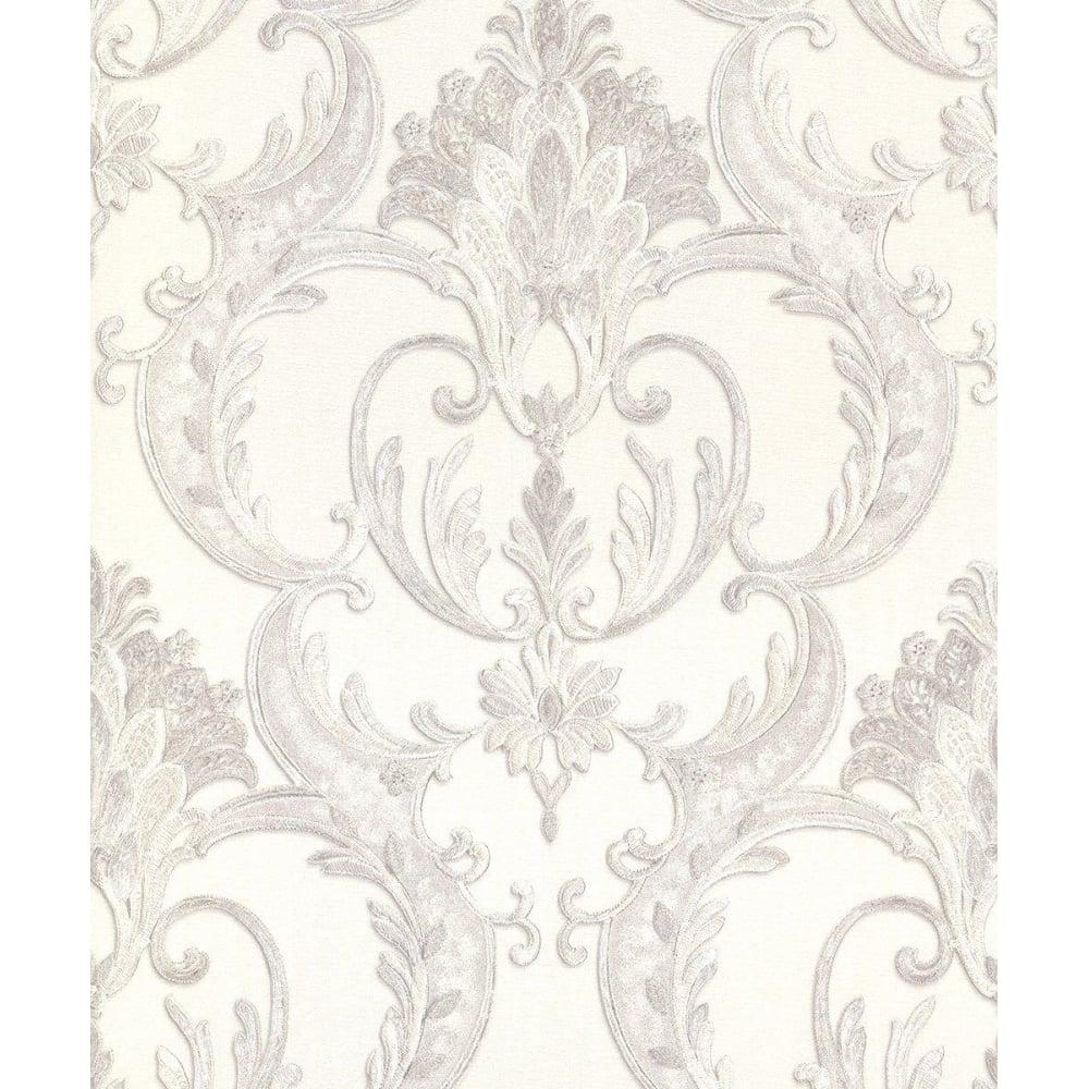 Debona Perla Italian Glitter White And Silver Damask Wallpaper