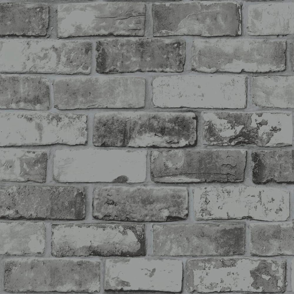 Rustic Brick Slate Grey Wallpaper 6753