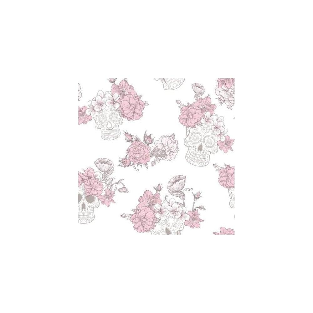 Debona skull dos muertos pink floral glitter wallpaper 8995 skull dos muertos pink floral glitter wallpaper 8995 mightylinksfo