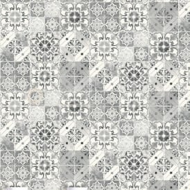 Valencia Mosaic Geometric Tile Black And Silver Wallpaper 5010