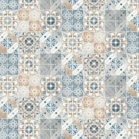 Valencia Mosaic Geometric Tile Orange And Blue Wallpaper 5011