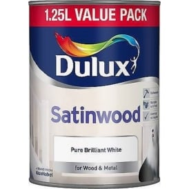 Dulux 1.25L Satin Wood Pure Brilliant White Paint