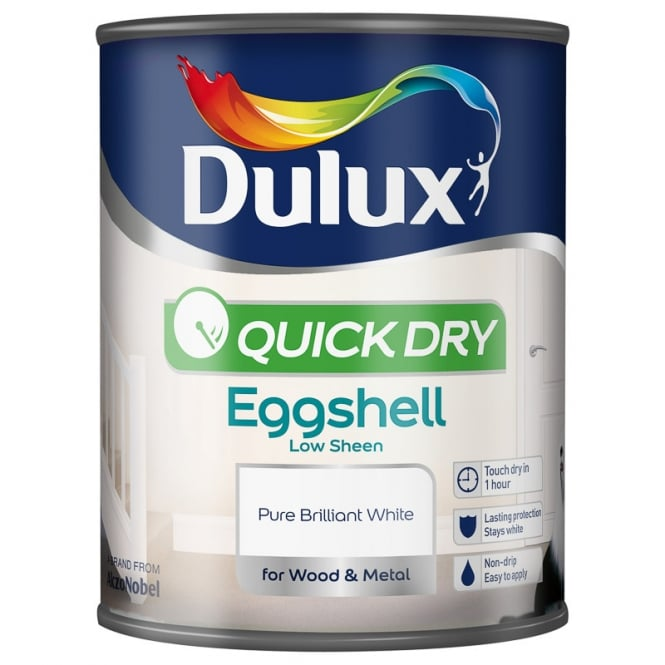 Dulux Quick Dry Eggshell Wood Paint White 750ml