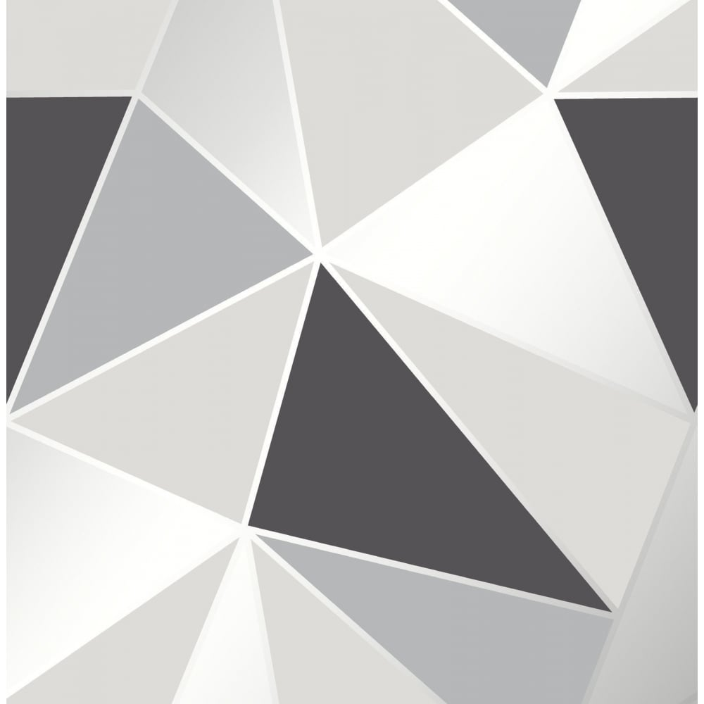 Fine Decor Apex Geometric Black And Silver Wallpaper