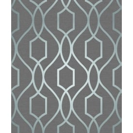 Apex Trellis Blue Slate Metallic Wallpaper FD41996