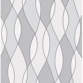 Apex Wave Grey And White Wallpaper Fd42174