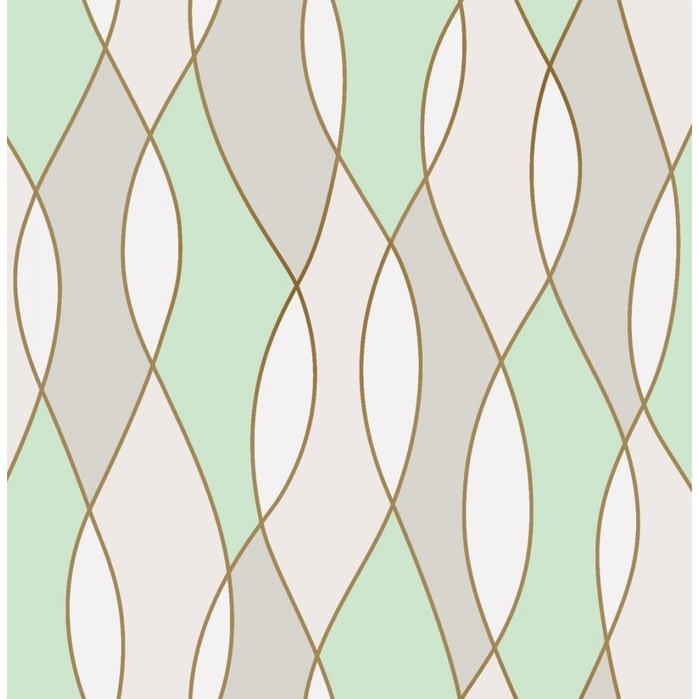 Fine Decor Apex Wave Mint Green Wallpaper Fd42173