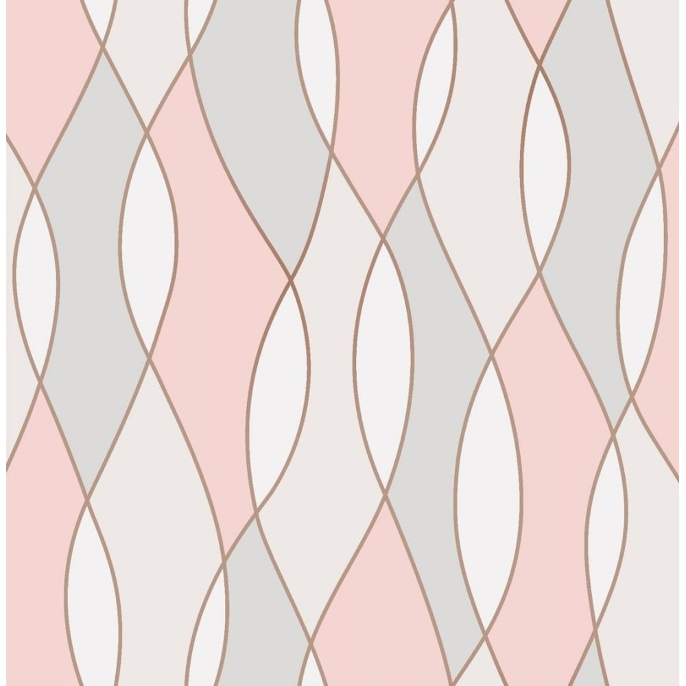 Apex Wave Rose Gold Wallpaper Fd42172