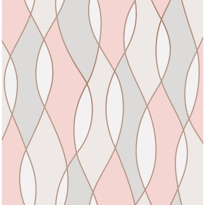 Fine Decor Apex Wave Rose Gold Wallpaper Fd42172