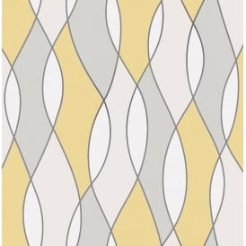 Apex Wave Yellow And Grey Wallpaper Fd42170