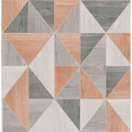 Fine Decor Apex Wood Grain Orange And Grey Wallpaper FD42225