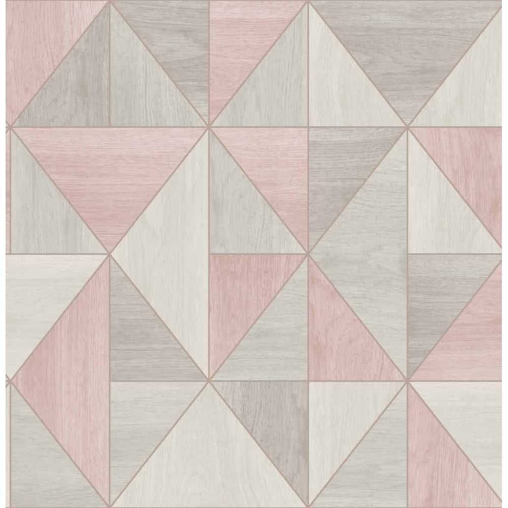 Fine Decor Apex Wood Grain Rose Gold And Grey Wallpaper