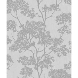 Aspen Grey And Silver Glitter Tree Wallpaper FD40978