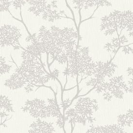 Aspen White And Silver Glitter Tree Wallpaper FD40977
