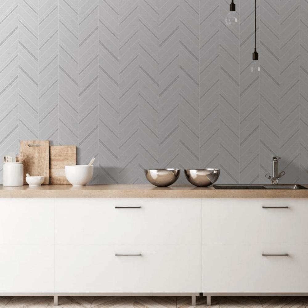 Fine Decor Chevron Silver Glitter Kitchen Bathroom Wallpaper