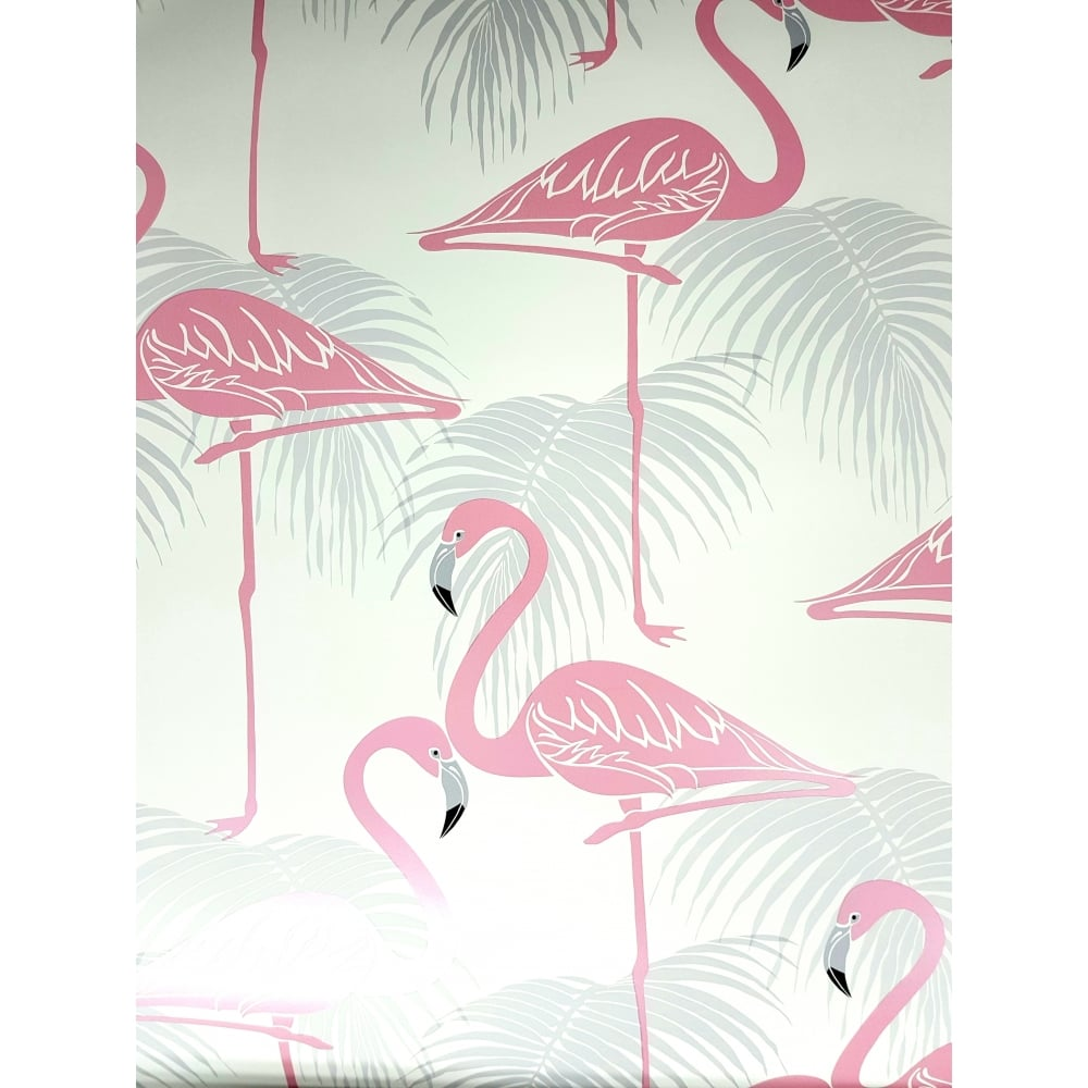Fine Decor Flamingo Pink And Grey Wallpaper Fd42215