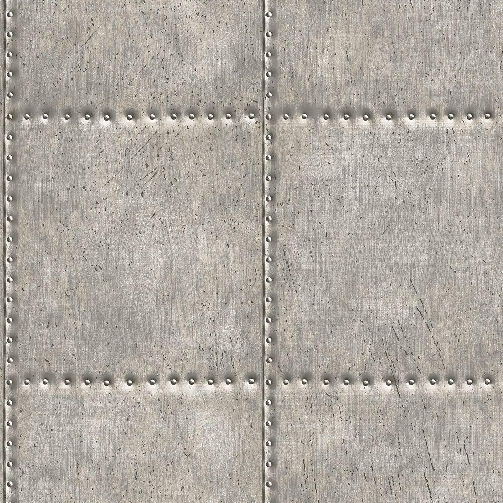 Fine Decor Industrial Silver Metal Sheet Wallpaper By A
