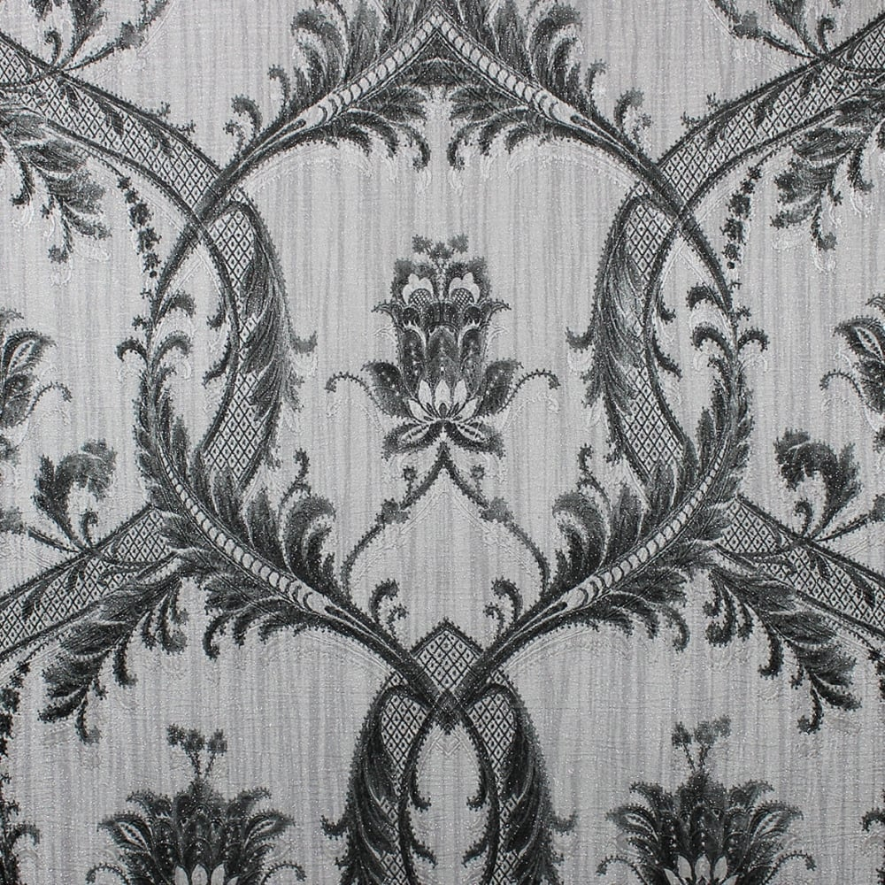 Milano Glitter Grey And Black Damask Wallpaper M95565