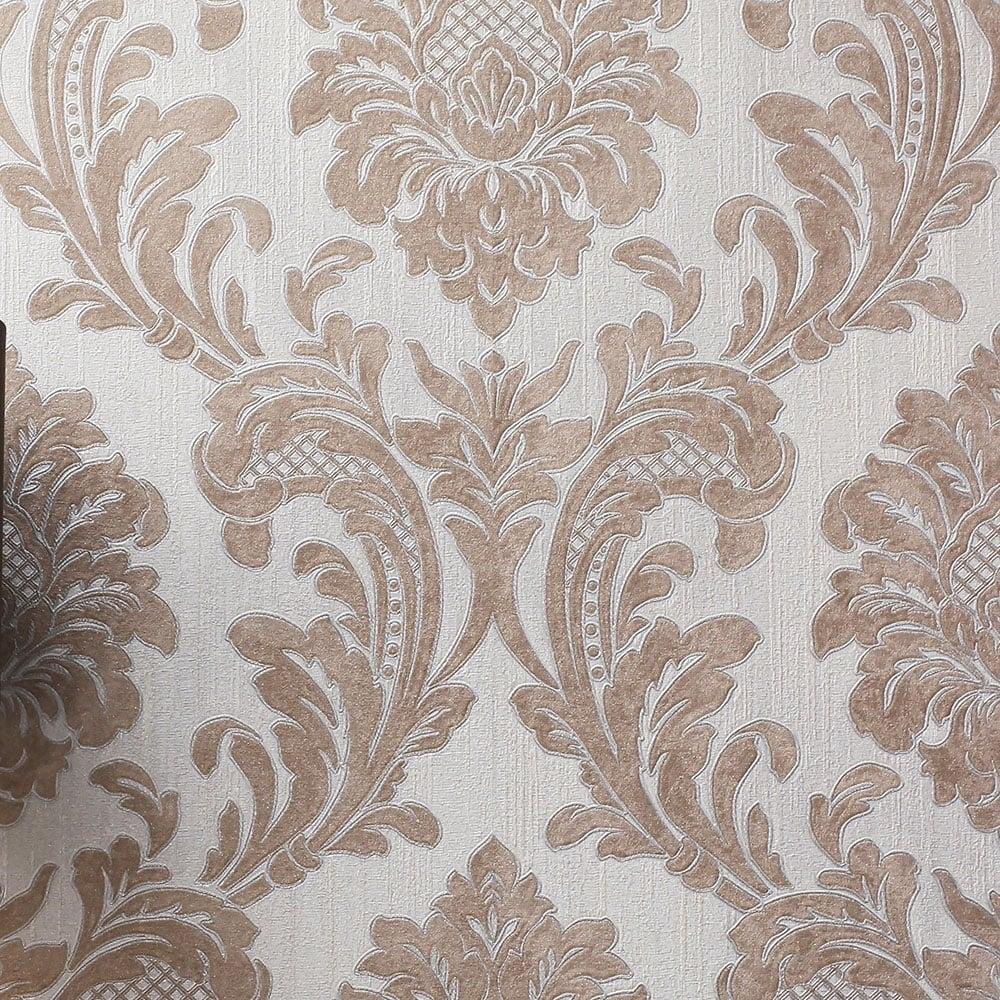 Fine decor milano glitter rose gold damask wallpaper for Italian kitchen silver spring