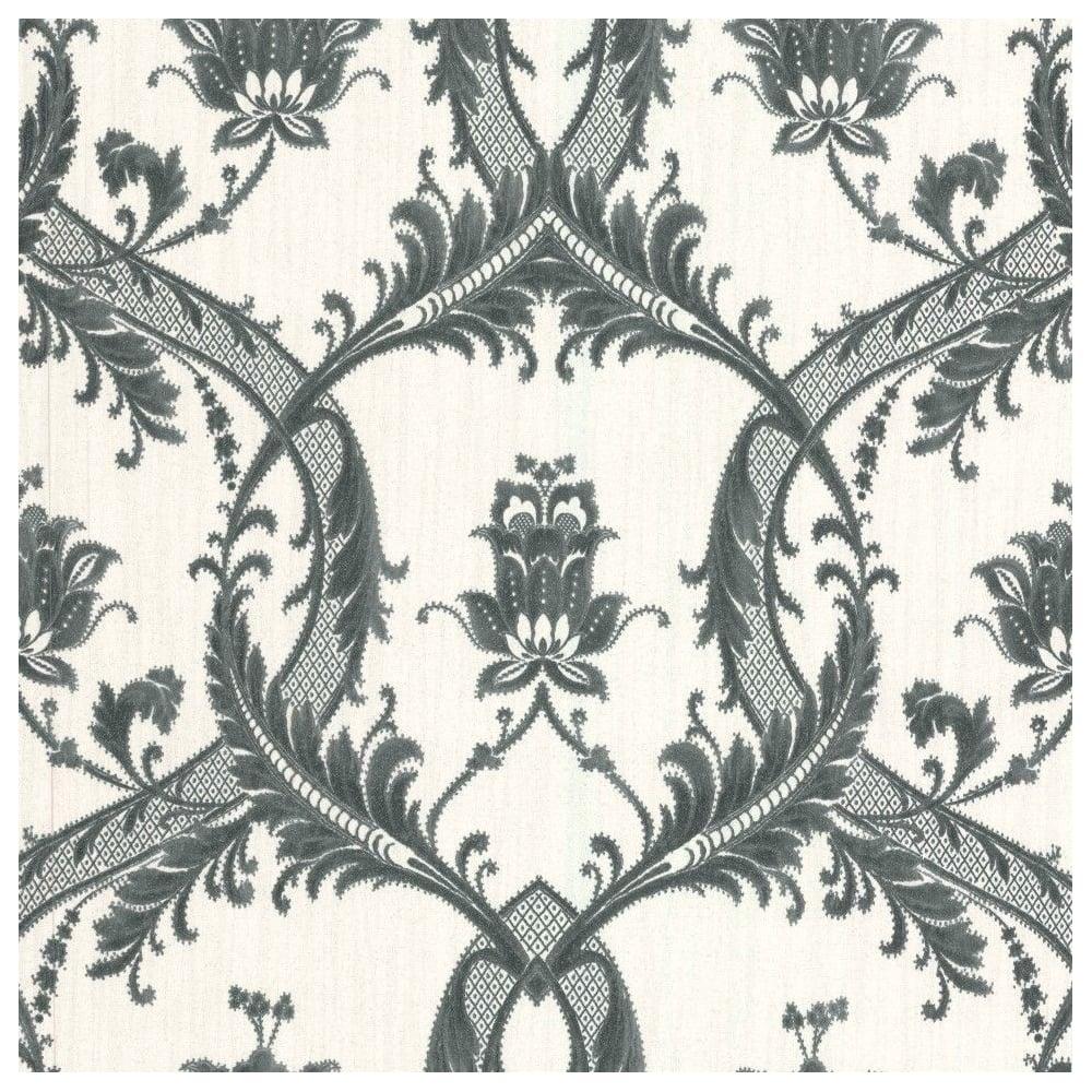Milano Glitter White And Black Damask Wallpaper M95587