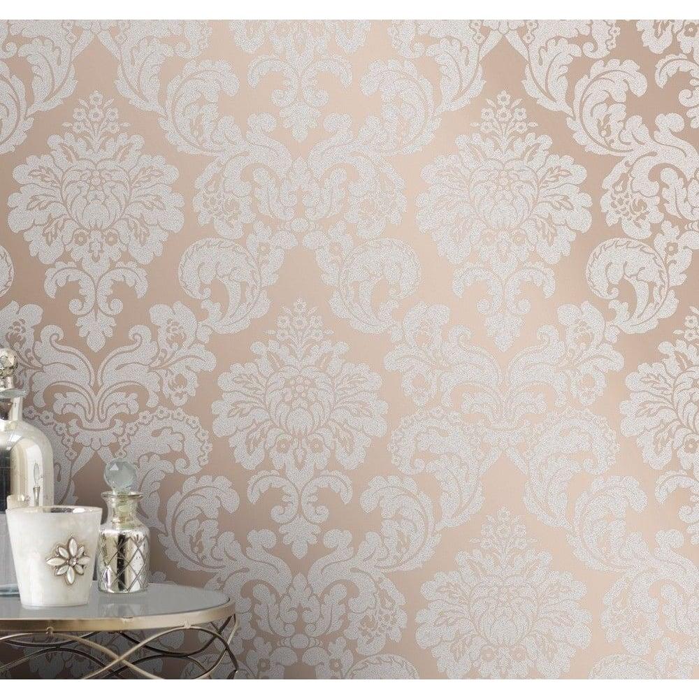 Fine Decor Monaco Damask Rose Gold Glitter Wallpaper FD42244